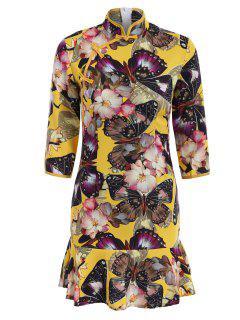 Mandarin Collar Frog Button Butterfly Print Dress - Yellow 2xl