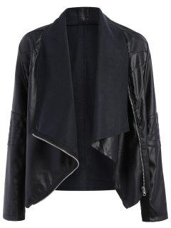 Zippered PU Leather Jacket - Black 2xl
