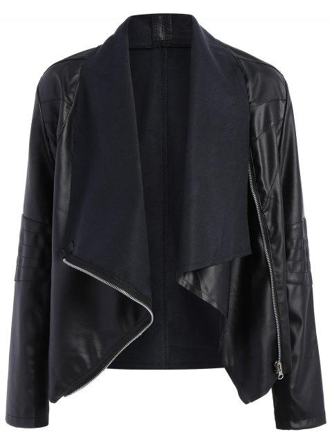 trendy Zippered PU Leather Jacket - BLACK M Mobile