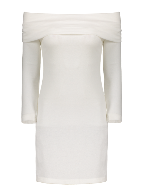 buy Off the Shoulder Mini Bodycon Party Dress - WHITE XL Mobile