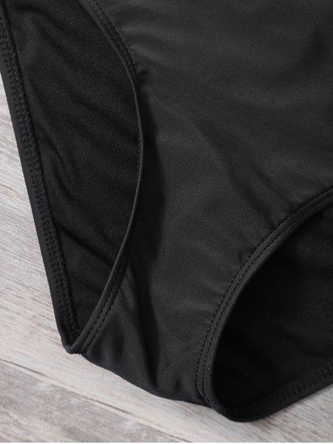 shop Cut Out Lacework Bikini Set - BLACK M Mobile
