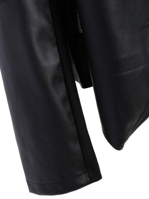 new Zippered PU Leather Jacket - BLACK 3XL Mobile