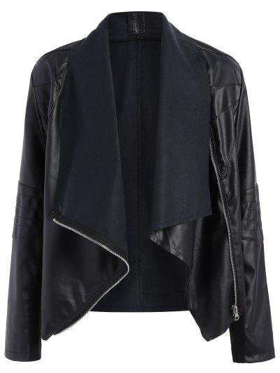 Zippered PU Leather Jacket - Black M