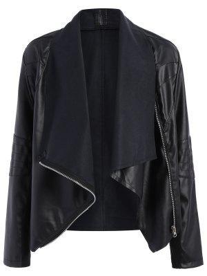 Chaqueta De Piel PU Con Zipper - Negro 4xl