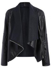 Zippered PU Leather Jacket - Black 5xl