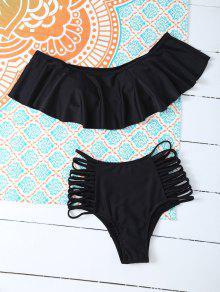 Bikini Haut Paddé à Volants Et Slip Avec Découpes - Noir L
