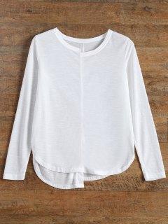 Mezcla De Algodón De Manga Larga Camiseta De Hendidura - Blanco S