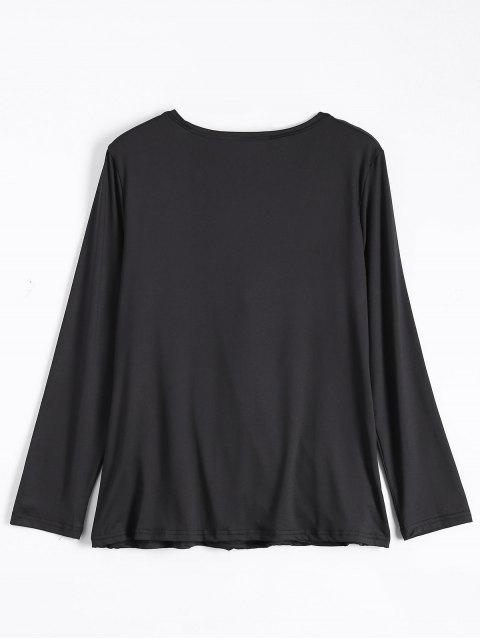 affordable Wrap Cut Out T-Shirt - BLACK M Mobile