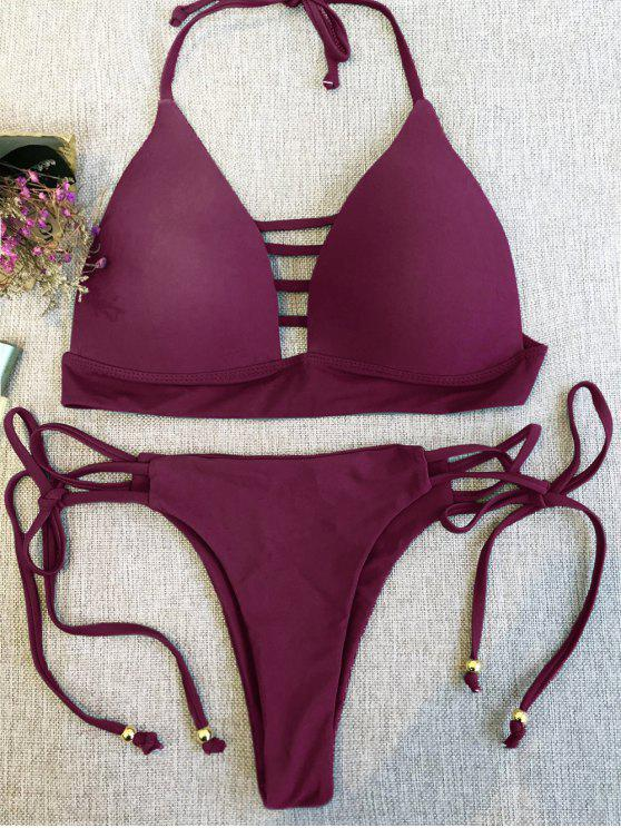 outfits Plunge Bikini Top and Thong Bikini Bottoms - WINE RED M