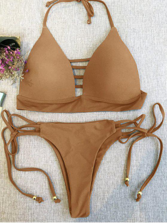trendy Plunge Bikini Top and Thong Bikini Bottoms - LIGHT COFFEE S