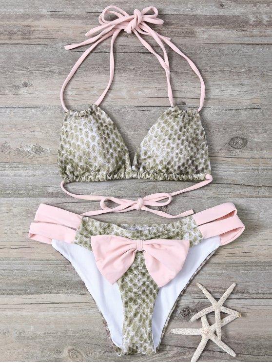 Piel de serpiente de impresión del Bowknot Cadena Bikini embellecido - Rosa S