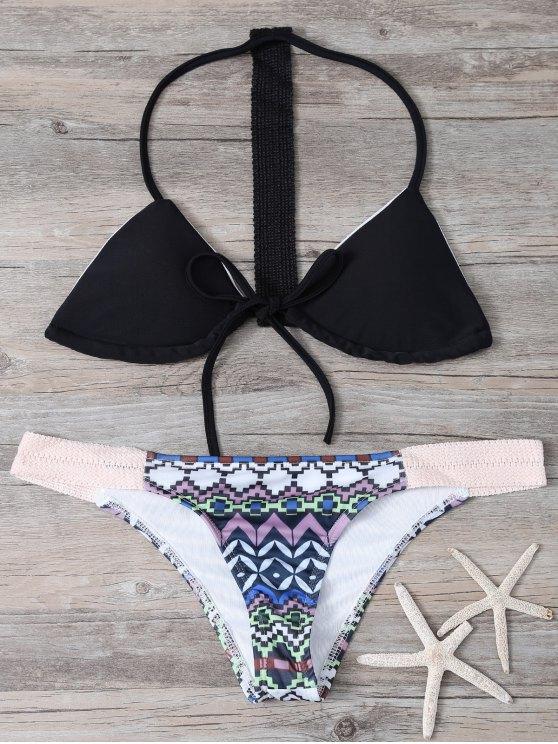 Motif géométrique élastique Halter Bikini Set - Noir L