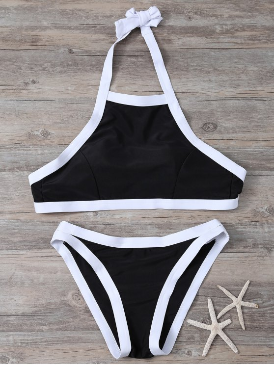 a47483da694 26% OFF] 2019 Halter Neck Piped Bikini Set In WHITE AND BLACK | ZAFUL