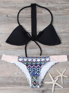 Geometric Pattern Halter Bikini Set - Black L