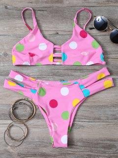 Polka Dot Bikini Set With Ladder Detail - Pink Xl