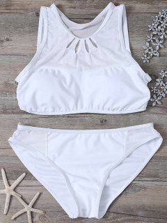 Mesh Panle High Neck Bikini - White M