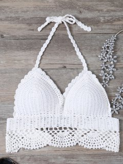 Blanc évider Bretelles Spaghetti Crochet Bikini - Blanc