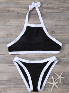 Halter Neck Piped Bikini Set - White And Black L