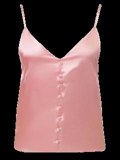 Boutonné Satin Cami Top - Rose Foncé S