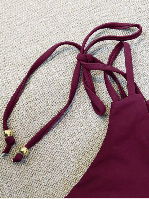 outfit Plunge Bikini Top and Thong Bikini Bottoms - WINE RED L Mobile