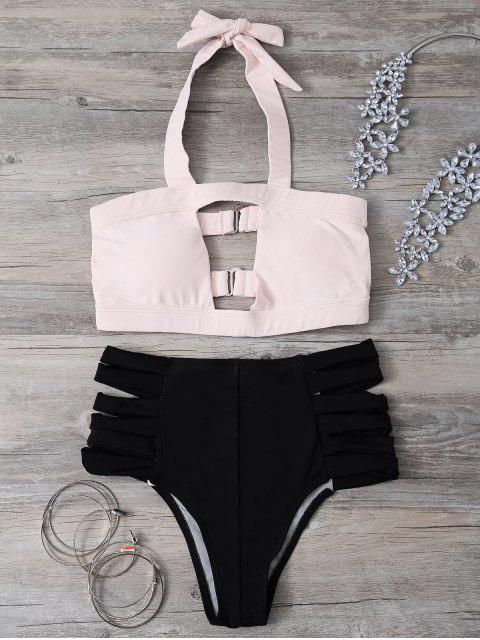 outfits Hollow Out Bandage Halter Bikini Set - LIGHT PINK S Mobile