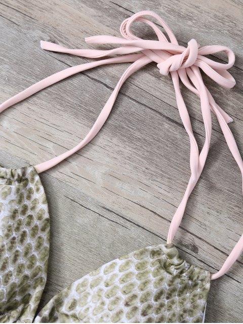 buy Snakeskin Print Bowknot Embellished String Bikini - PINK S Mobile