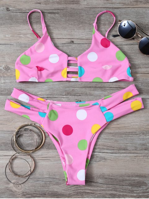 outfits Polka Dot Bikini Set With Ladder Detail - PINK M Mobile