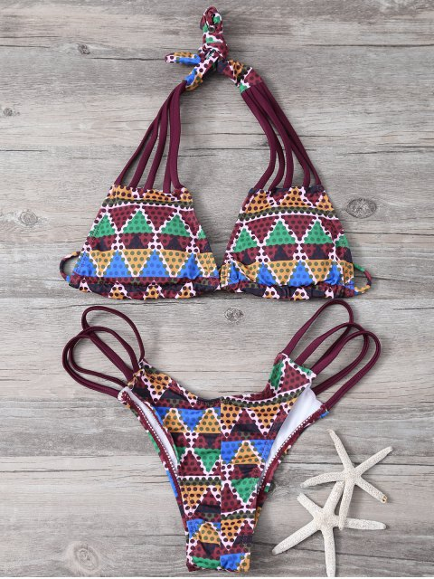 latest Printed Lace Up Bikini Set - WINE RED M Mobile