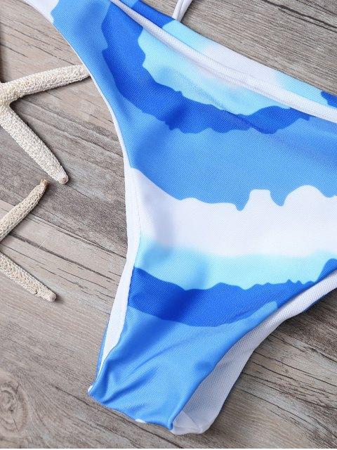 unique Tie Front Thong Bikini Set - BLUE S Mobile