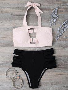 Hollow Out Bandage Halter Bikini Set - Light Pink S