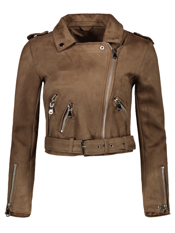 Lapel Zipper Pockets Suede Jacket - Khaki M