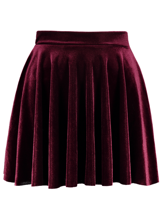 affordable Velvet A Line Mini Skirt - BURGUNDY L
