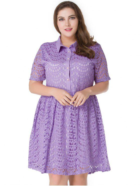 28% OFF] 2019 Plus Size Lace A Line Skater Shirt Dress In LIGHT ...