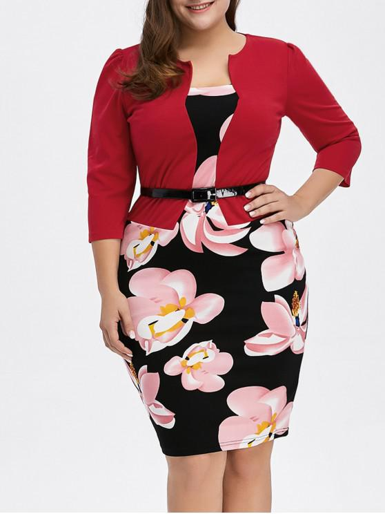 Plus Size Mid Length Pencil Peplum Dress RED