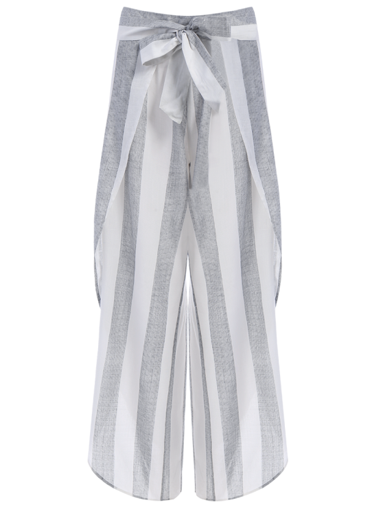 outfit Asymmetric High Waisted Striped Pants - GRAY S