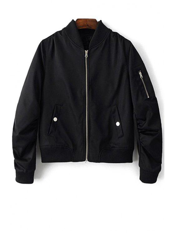 chic Zippered Sleeve Bomber Jacket - BLACK M
