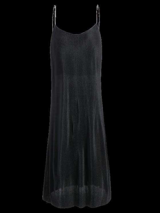 Vestido Plisado con Tirantes Finos - Negro S