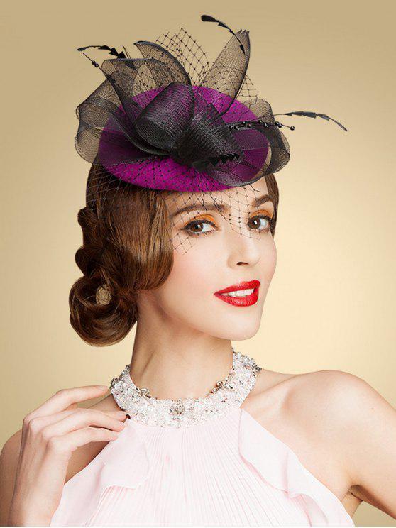 Fascinator tejido en hilo Sombrero pillbox - Rosa Violeta