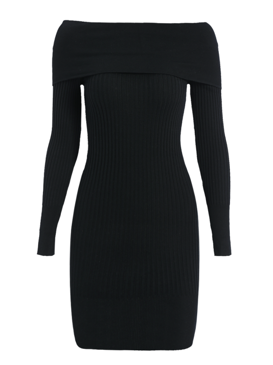 trendy Ribbed Off The Shoulder Sweater Bodycon Dress - BLACK ONE SIZE