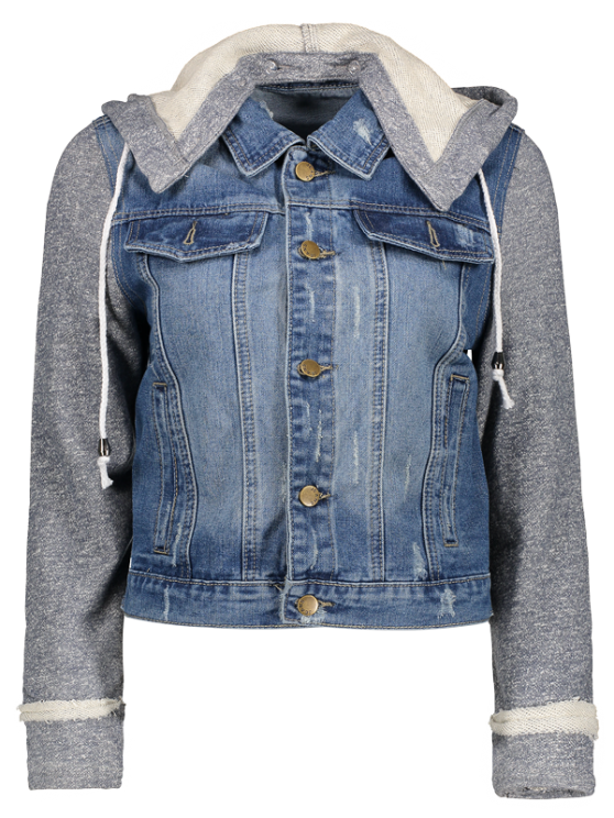 online Hooded Denim Jacket - BLUE+GRAY L