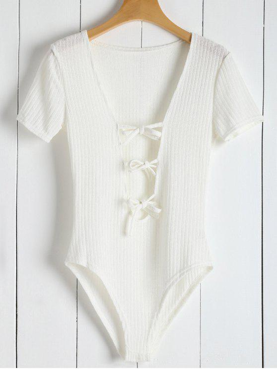 trendy Ribbed Knit Tie Front Plunge Bodysuit - WHITE M