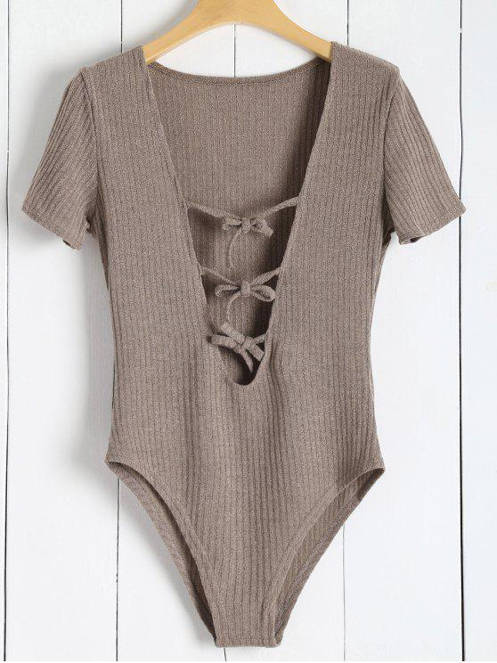 sale Ribbed Knit Tie Front Plunge Bodysuit - LIGHT BROWN S