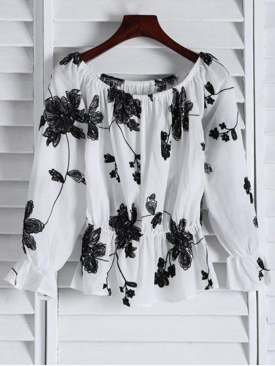 fancy Frilled Embroidered Off The Shoulder Top - WHITE S