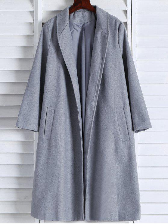 outfits Shawl Neck Gray Wool Coat - GRAY S