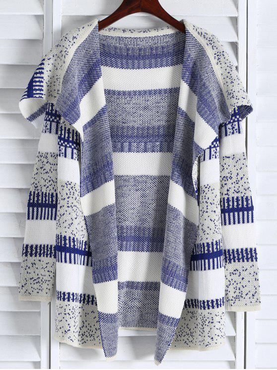 new Open Front Jacquard Long Cardigan - BLUE AND WHITE ONE SIZE(FIT SIZE XS TO M)