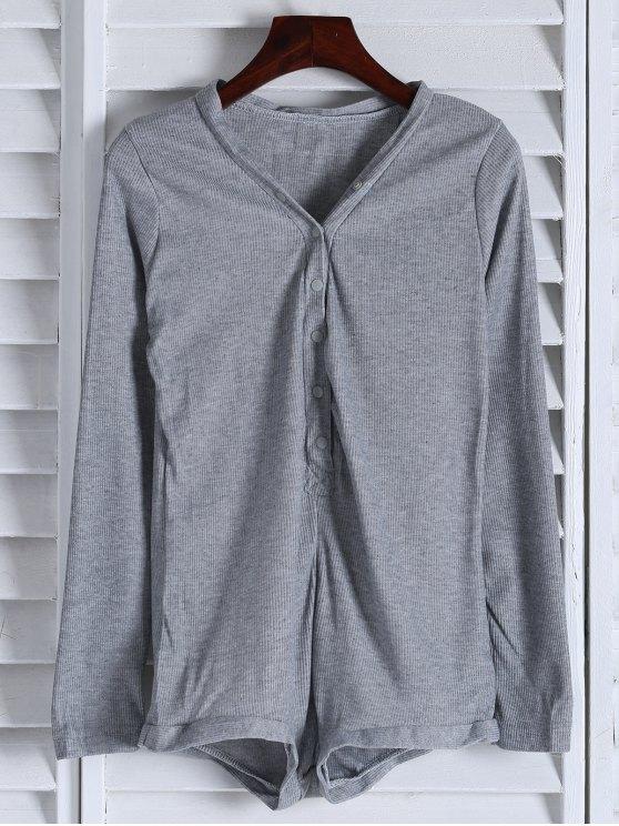 ladies Solid Color Button Design Bodysuit - GRAY M