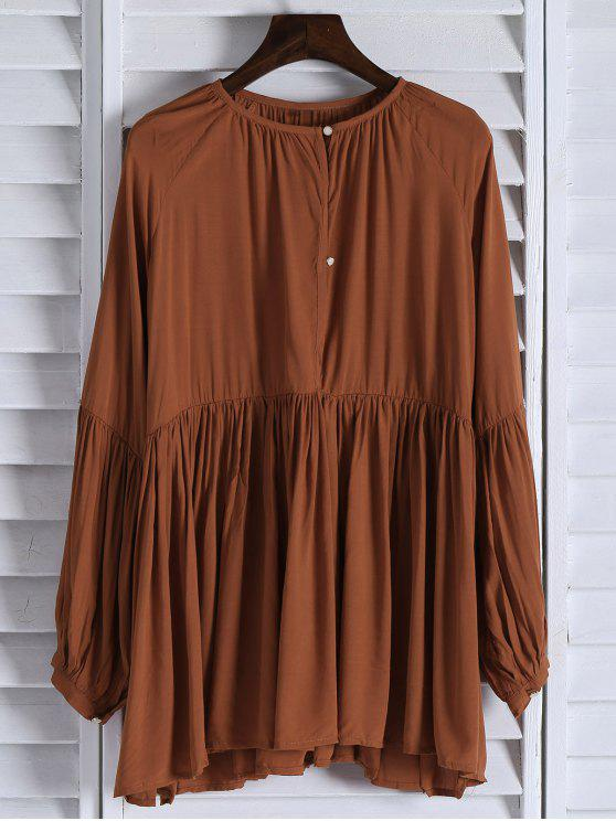 best Solid Color Loose Fitting Long Sleeves Blouse - ORANGE M