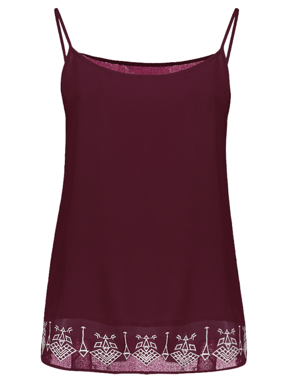 outfits Embroidery Spaghetti Straps Tank Top - WINE RED L