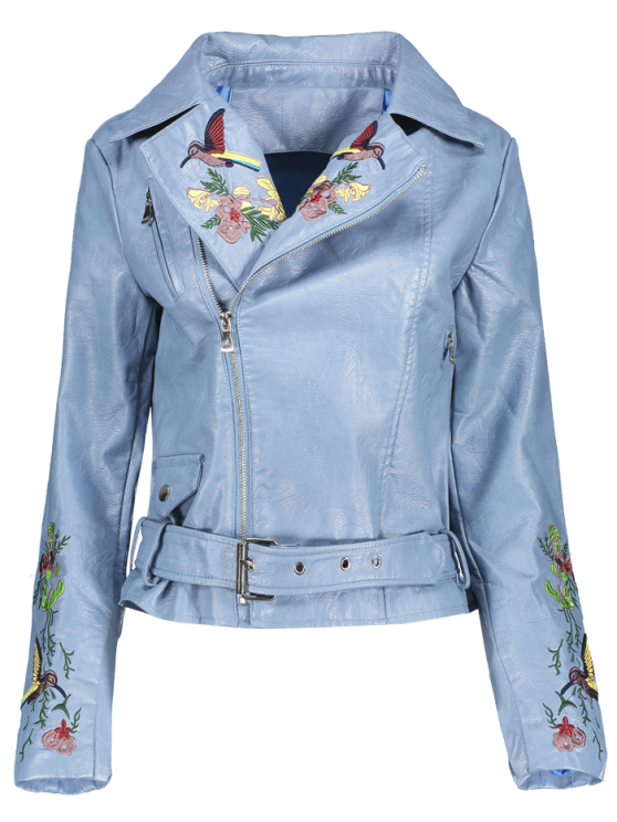womens Embroidered Lapel Collar Faux Leather Jacket - AZURE S