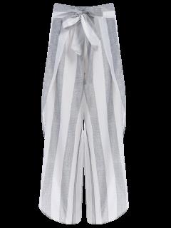 Asymmetric Pantalon Taille Haute à Rayures - Gris S